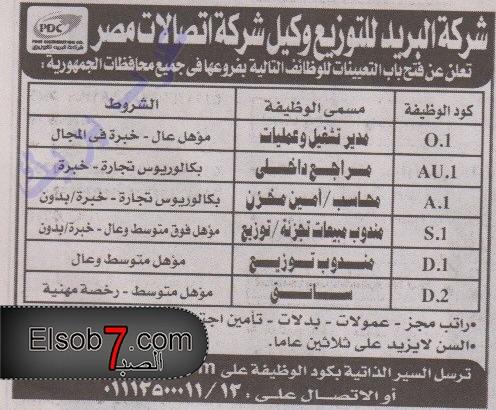 وظائف البريد المصري 2016