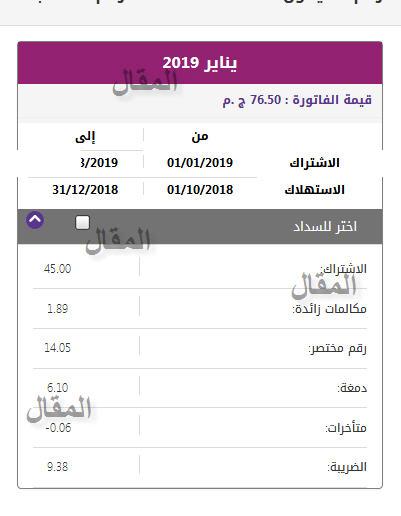 فاتورة التليفون الارضي يناير 2019