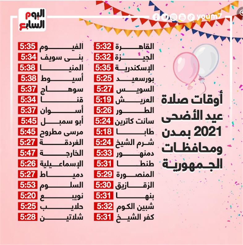 موعد صلاة عيد الأضحى 2021 مصر